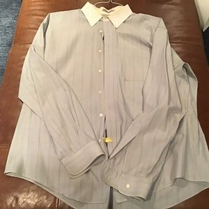 Light blue gray striped button down
